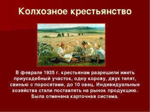 Колхозное крестьянство В феврале 1935 г. крестьянам разрешили иметь приусадеб
