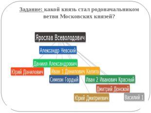 Задание: какой князь стал родоначальником ветви Московских князей?