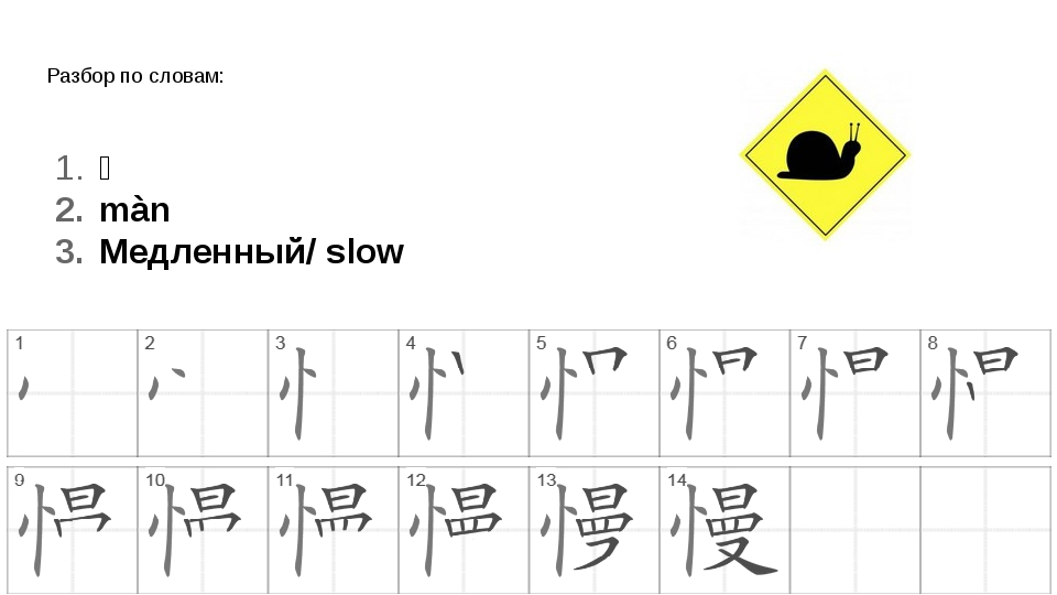 Разбор по словам: 慢 màn Медленный/ slow
