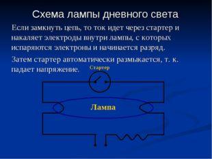 Схема лампы дневного света Если замкнуть цепь, то ток идет через стартер и на
