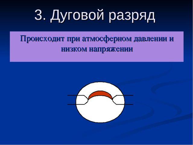 3. Дуговой разряд Происходит при атмосферном давлении и низком напряжении