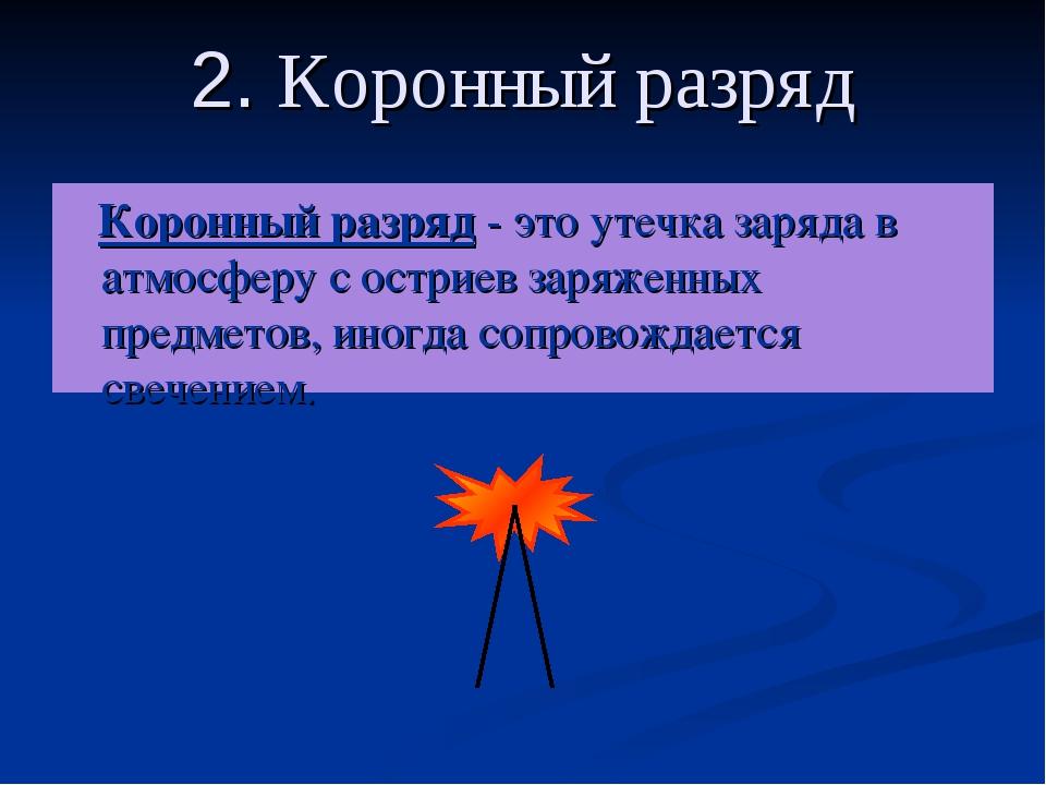 2. Коронный разряд Коронный разряд - это утечка заряда в атмосферу с остриев...