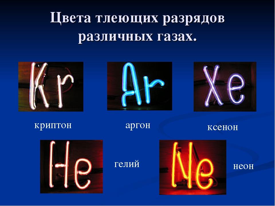 Цвета тлеющих разрядов различных газах. аргон ксенон криптон гелий неон