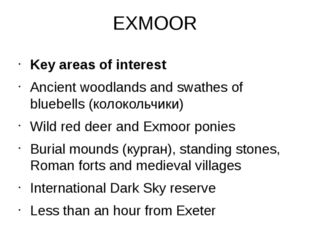 EXMOOR Key areas of interest Ancient woodlands and swathes of bluebells (коло