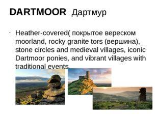 DARTMOOR Дартмур Heather-covered( покрытое вереском moorland, rocky granite t