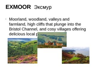 EXMOOR Эксмур Moorland, woodland, valleys and farmland, high cliffs that plun