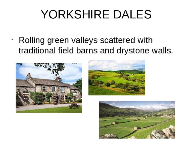 YORKSHIRE DALES Rolling green valleys scattered with traditional field barns...