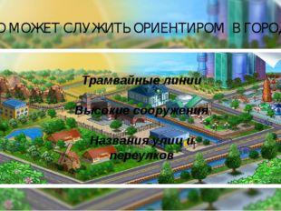 Трамвайные линии Высокие сооружения Названия улиц и переулков ЧТО МОЖЕТ СЛУЖИ