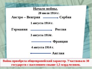Начало войны. 28 июля 1914 г. Австро – Венгрия Сербия 1 августа 1914 г. Герма