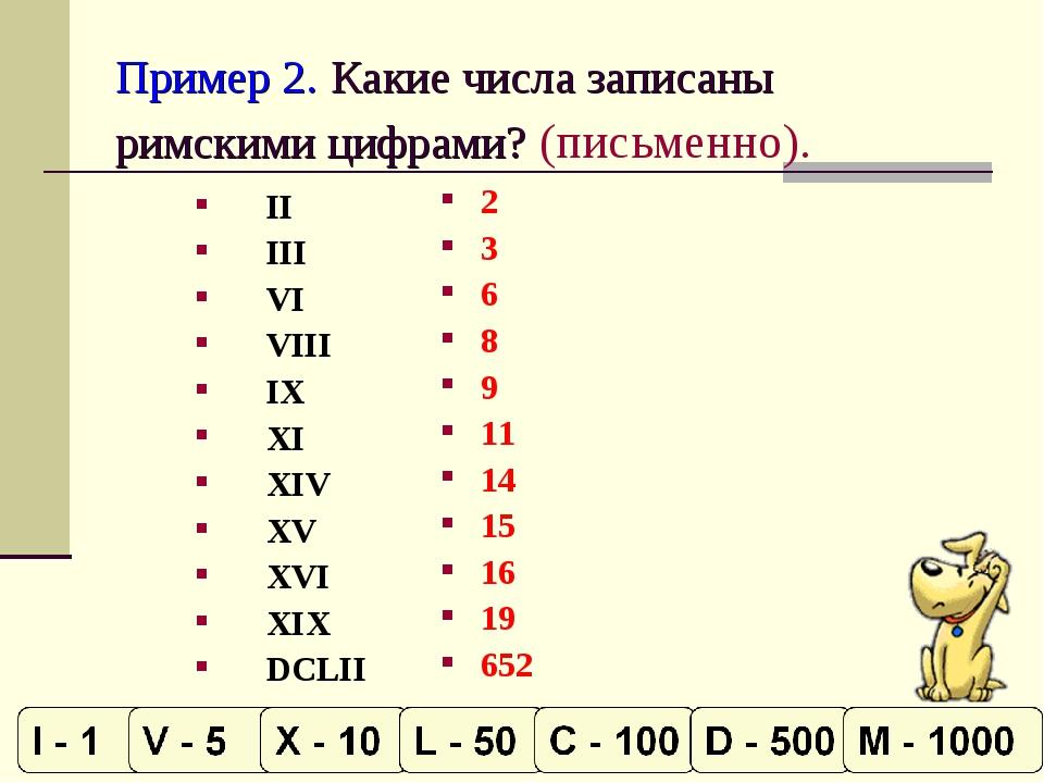 Пример 2. Какие числа записаны римскими цифрами? (письменно). II III VI VIII...