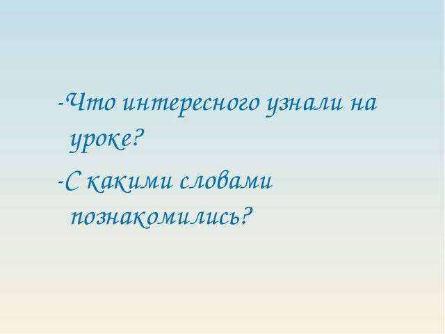 -Что интересного узнали на уроке? -С какими словами познакомились?