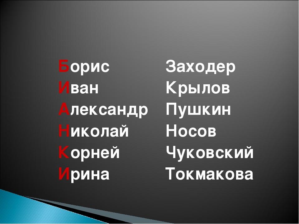 Борис Иван Александр Николай Корней Ирина Заходер Крылов Пушкин Носов Чуковск...