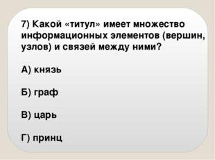 7) Какой «титул» имеет множество информационных элементов (вершин, узлов) и с