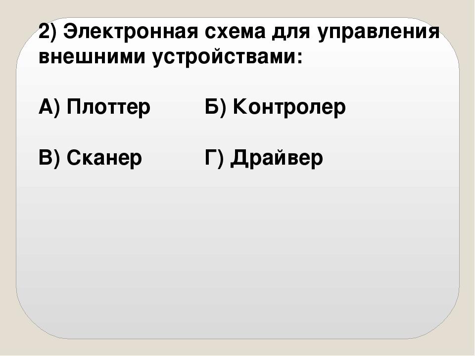 2) Электронная схема для управления внешними устройствами: А) ПлоттерБ) Ко...