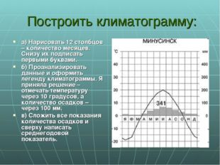 Построить климатограмму: а) Нарисовать 12 столбцов – количество месяцев. Сни