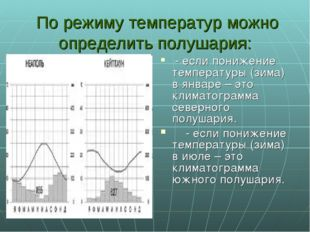 По режиму температур можно определить полушария: - если понижение температур