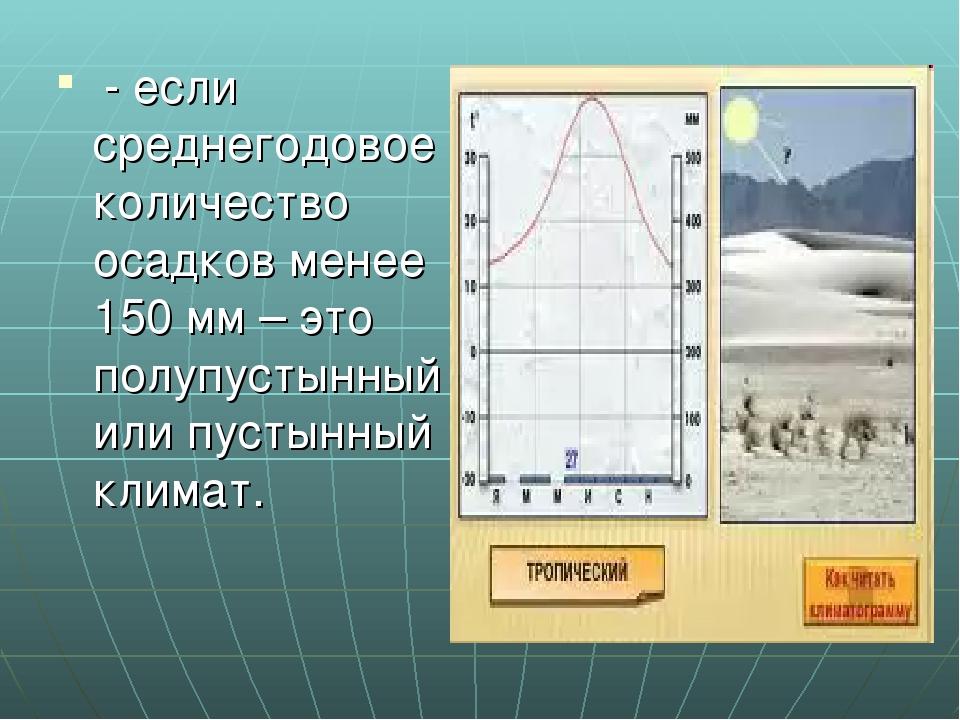 - если среднегодовое количество осадков менее 150 мм – это полупустынный или...