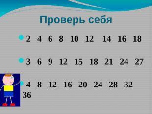 Проверь себя 2 4 6 8 10 12 14 16 18 3 6 9 12 15 18 21 24 27 4 8 12 16 20 24 2