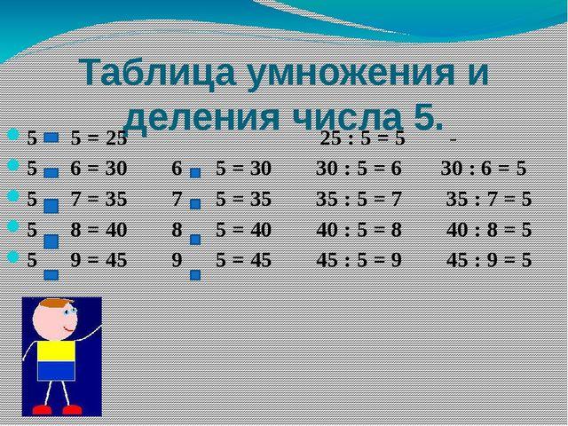 Таблица умножения и деления числа 5. 5 5 = 25 25 : 5 = 5 - 5 6 = 30 6 5 = 30...