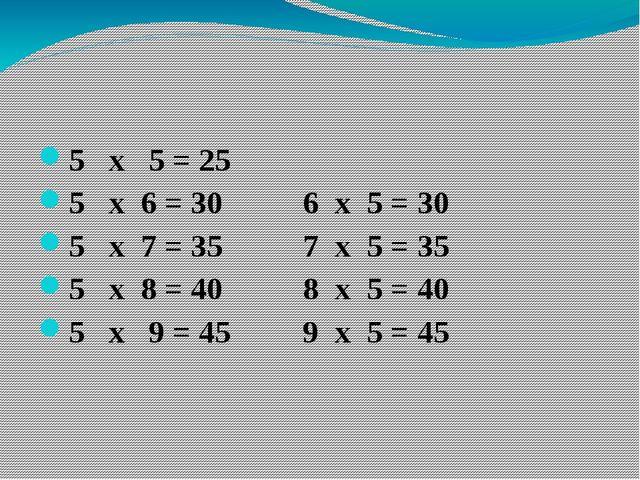 5 х 5 = 25 5 х 6 = 30 6 х 5 = 30 5 х 7 = 35 7 х 5 = 35 5 х 8 = 40 8 х 5 = 40...