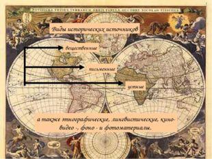 Виды исторических источников вещественные письменные устные а также этнографи