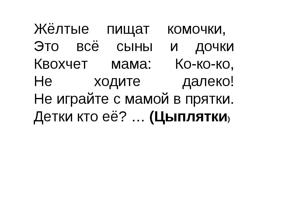 Жёлтые пищат комочки, Это всё сыны и дочки Квохчет мама: Ко-ко-ко, Не ходит...