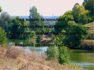 Над водою склонилися ивы, С камышами ведут разговор. Вдоль реки – сколько вз