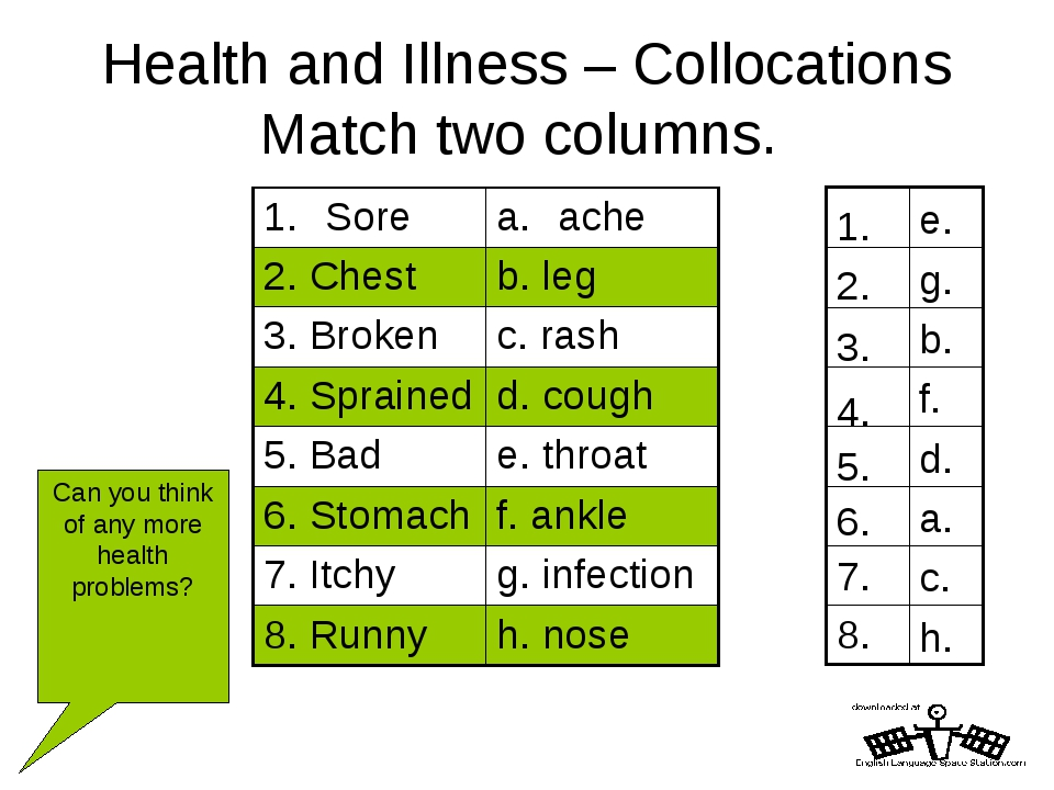 Health and Illness – Collocations Match two columns. h. 8. c. 7. a. 6. d. 5....