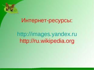 Интернет-ресурсы: http://images.yandex.ru http://ru.wikipedia.org
