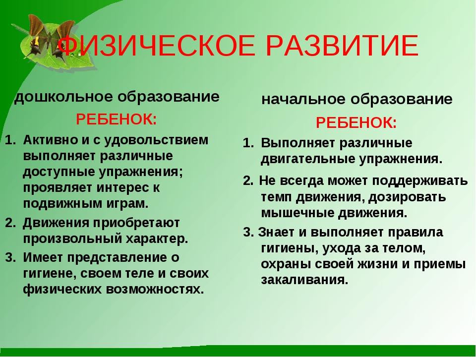 ФИЗИЧЕСКОЕ РАЗВИТИЕ дошкольное образование РЕБЕНОК: Активно и с удовольствием...