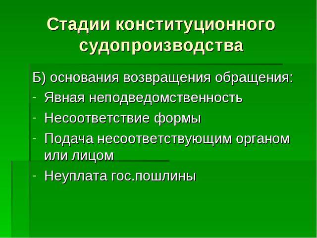 Стадии конституционного судопроизводства Б) основания возвращения обращения:...