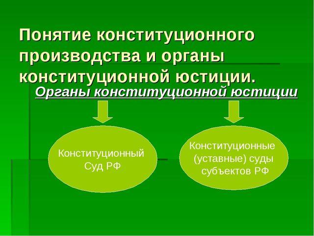 Понятие конституционного производства и органы конституционной юстиции. Орган...