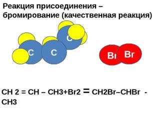 Br C C Реакция присоединения – бромирование (качественная реакция) C Br СН 2