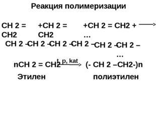 Реакция полимеризации СН 2 = СН2 +СН 2 = СН2 +СН 2 = СН2 +… СН 2 – СН 2 – СН