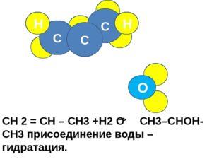C C H C H O СН 2 = СН – СН3 +H2 O CH3–CHOH- CH3 присоединение воды – гидрата