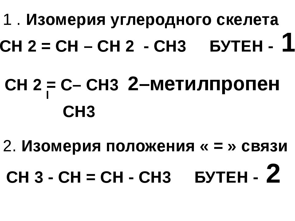 1 . Изомерия углеродного скелета СН 2 = СН – СН 2 - СН3 БУТЕН - 1 СН 3 - СН =...