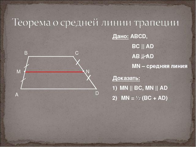 A D B C Дано: ABCD, BC || AD AB || AD MN – средняя линия Доказать: MN || B...