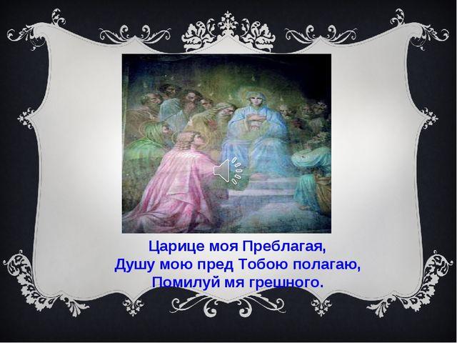 Царице моя Преблагая, Душу мою пред Тобою полагаю, Помилуй мя грешного.