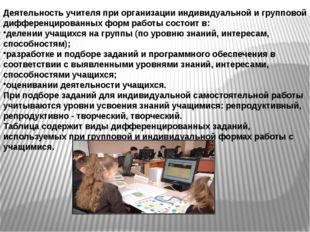 Деятельность учителя при организации индивидуальной и групповой дифференциров