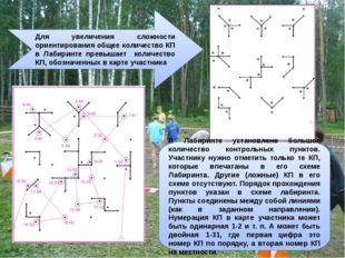 Для увеличения сложности ориентирования общее количество КП в Лабиринте превы