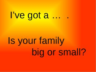 I've got a … . Is your family big or small?