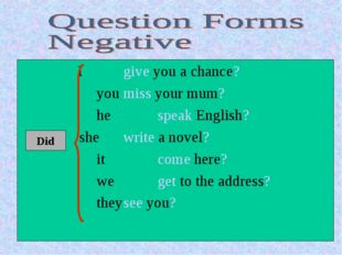I give you a chance?  youmiss your mum?  hespeak English?  shew