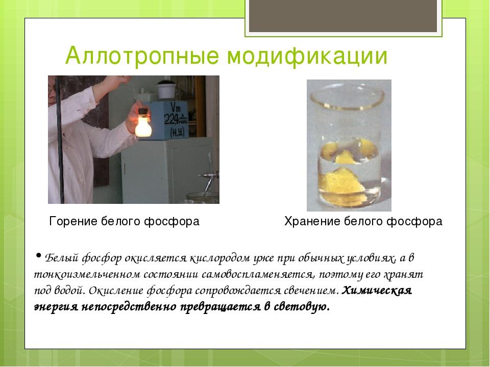 Аллотропные модификации Горение белого фосфора Белый фосфор окисляется кислор...