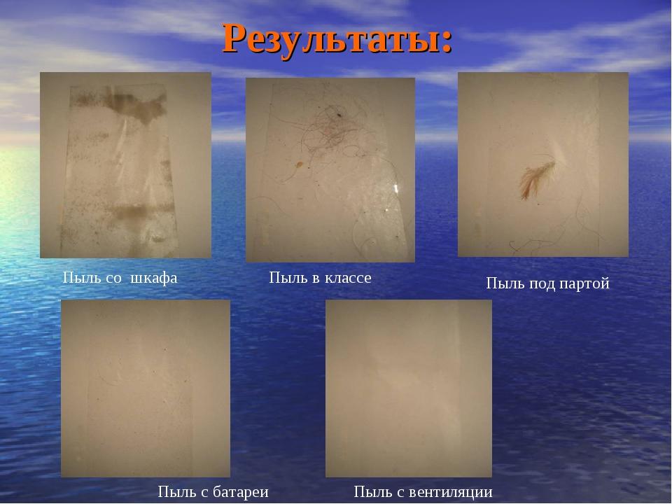 Результаты: Пыль со шкафа Пыль в классе Пыль под партой Пыль с батареи Пыль с...