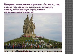 Монумент «соединение фронтов». Это место, где войска трёх фронтов выполнили о