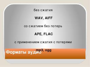 Форматы аудио без сжатия WAV, AIFF сосжатием без потерь APE, FLAC с примене
