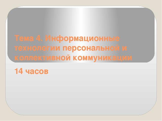 Тема 4. Информационные технологии персональной и коллективной коммуникации 14...