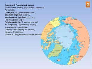 Северный Ледовитый океан Расположен между Евразией и Северной Америкой. Площа