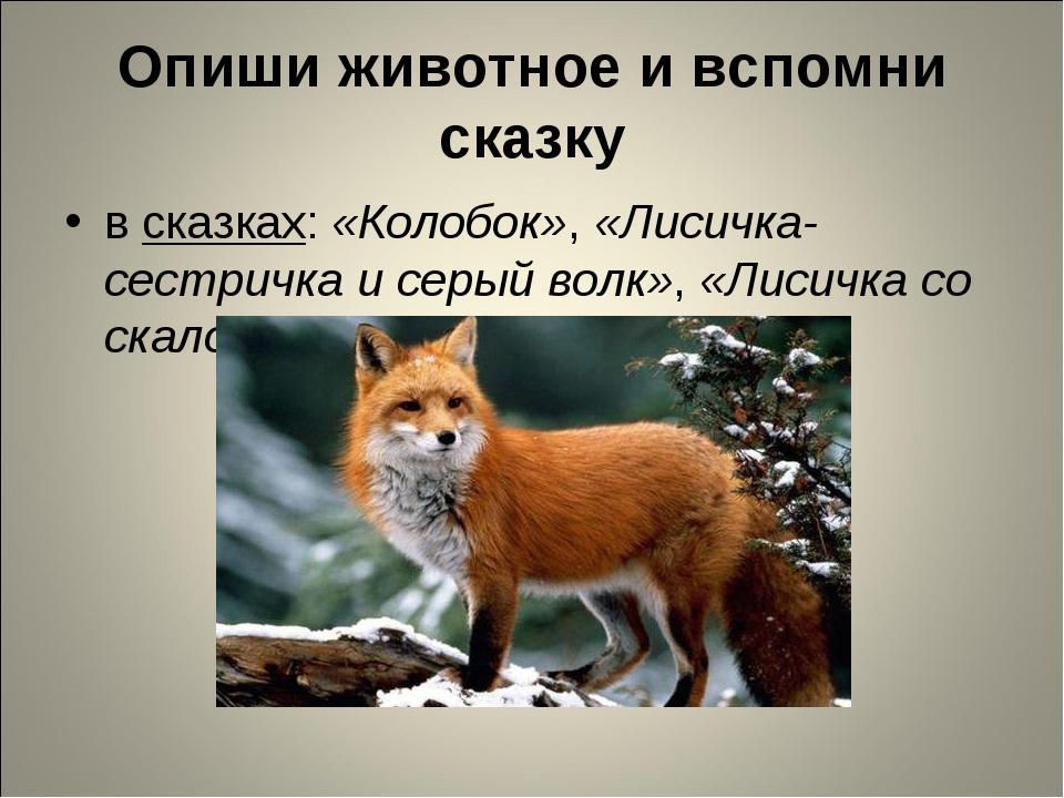 Опиши животное и вспомни сказку в сказках: «Колобок», «Лисичка-сестричка и се...