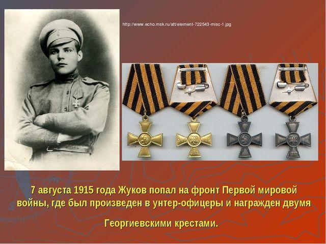 7 августа 1915 года Жуков попал на фронт Первой мировой войны, где был произв...